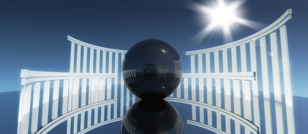 chrome base: 3d concept and metaphor of worship, religious cult architecture with glossy ball Stock Photo