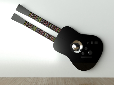 3d Audio player guitar shape, design furniture photo