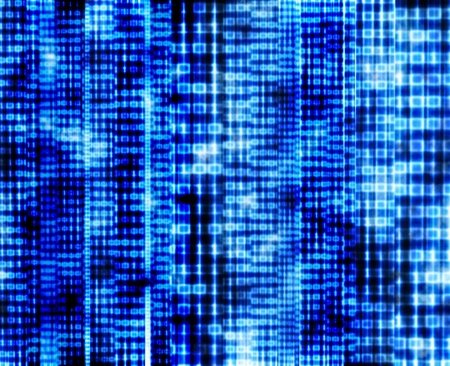 Abstract binary code, blue digital screen photo