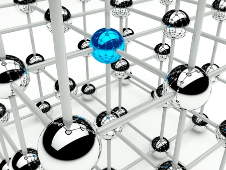 구조 네트워크 및 통신 3d의 추상 개념 스톡 콘텐츠
