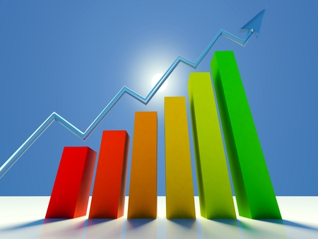 economic interest: 3d graph showing growing profits or earnings with arrow Stock Photo