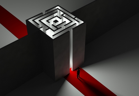 Businessman and Maze, 3d concept of problem and task photo