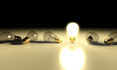 edison: One glowing light bulb amongst other light bulbs, concept of idea
