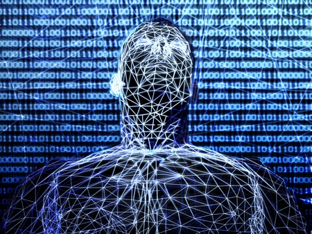 3d futuristic man wire frame in binary network photo