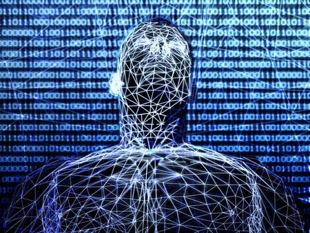 futuristic man: 3d futuristic man wire frame in binary network