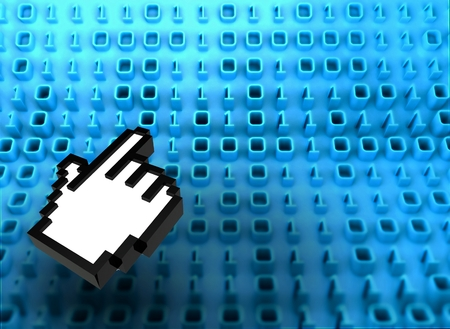 3D binary code on board with hand icon photo