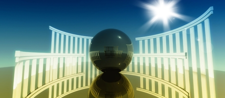 new age: 3d concept and metaphor of worship, religious cult architecture with glossy ball Stock Photo