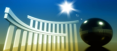 cult: 3d concept and metaphor of worship, religious cult architecture with glossy ball Stock Photo