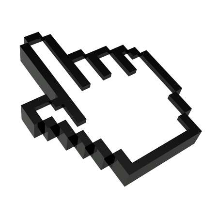 rotated: 3d hand icon rotated to the left Stock Photo