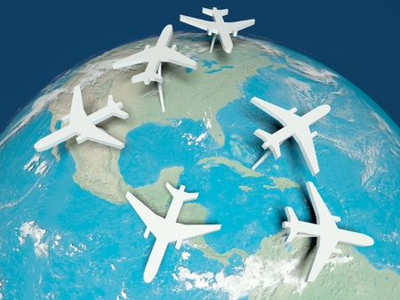 3d Airplane Routes on world map