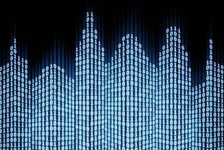 Binäre digitale Stadt, abstract 3d Tech Background Standard-Bild