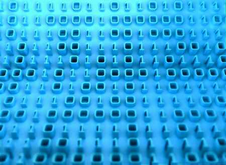 electrify: 3D binary code on board of information, tech background Stock Photo