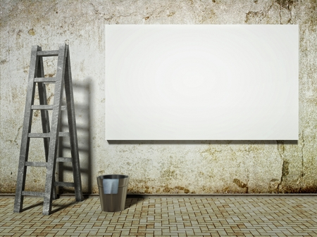 Blank street advertising billboard on dirty grunge wall with ladder and bucket