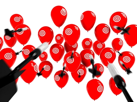 aileron: Business Target, Aspiration and Success, Arrows and Balloons Stock Photo
