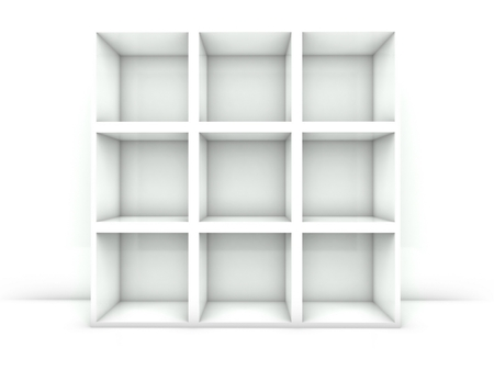 3d empty bookshelf isolated white photo