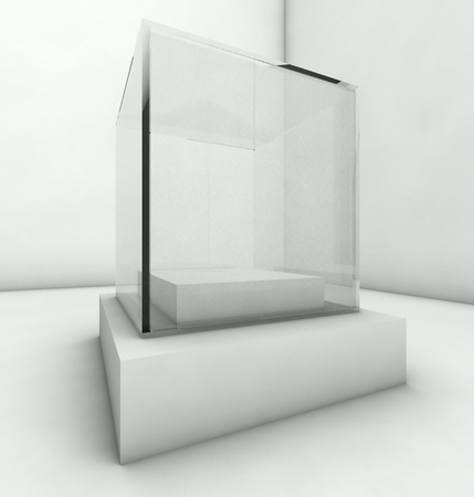 Empty glass showcase, 3d exhibition space Stock Photo - 26691665