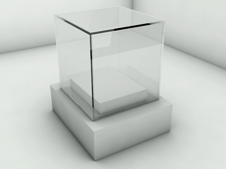 Empty glass showcase, 3d exhibition space Stock Photo - 26691676