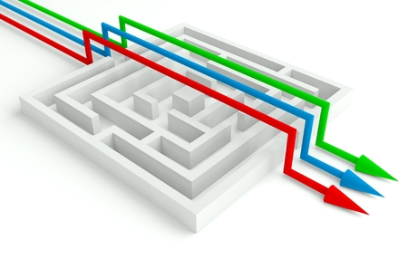 circumvent: 3d Maze Solved by Workgroup, Smart Solution Stock Photo
