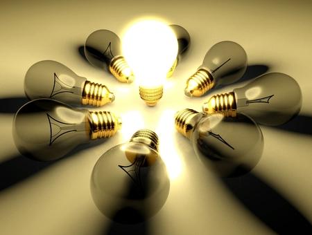 amongst: One glowing light bulb amongst other light bulbs, concept of idea