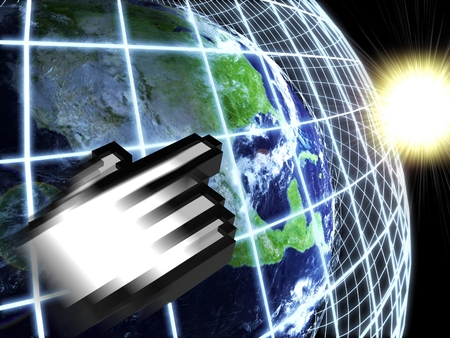 Modern earth in a web network with hand icon photo