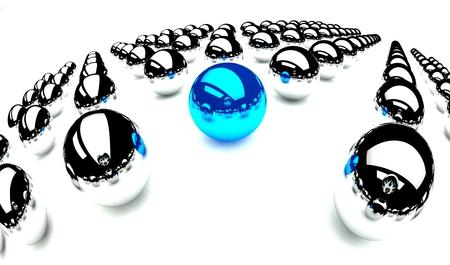Individuality symbol, blue ball amongst other balls