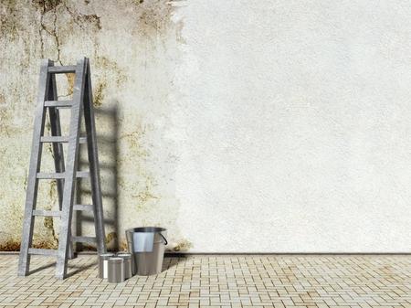 reparations: Remodelaci�n de la pared del edificio, viejo y nuevo