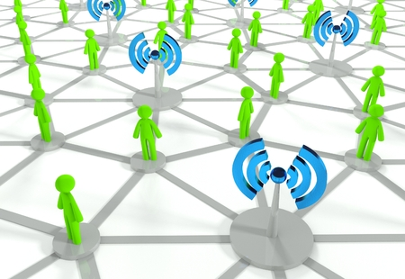 wireless hot spot: Social network connection with wifi