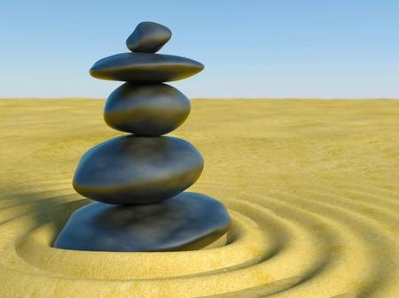 equilibrium: 3d Zen stones in a zen sand