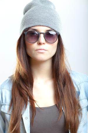 Portrait of stylish teenage girl, hipster style