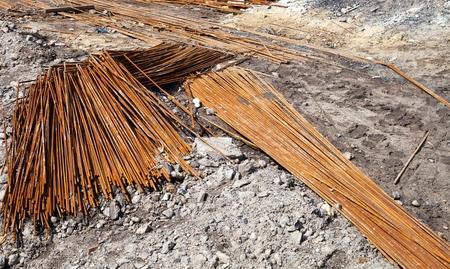 Concrete reinforcement steel rods in warehouse photo