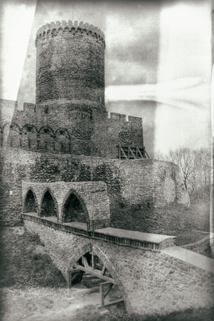 archival: Medieval castle in vintage style photography Editorial