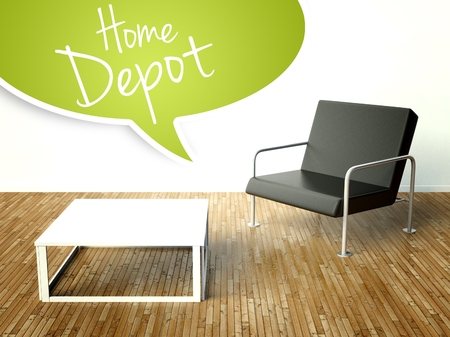 depot: 3d Home depot with table and armchair. Creative illustration Stock Photo