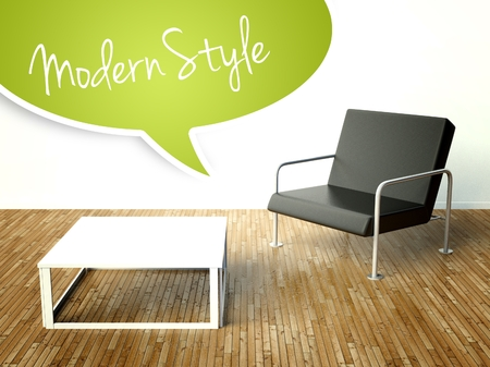 3d Modern style interior with table and armchair. Creative illustration illustration