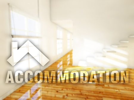 accommodation: Accommodation apartment, creative conceptual illustration