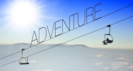 Adventure on ski lift, creative conceptual illustration illustration