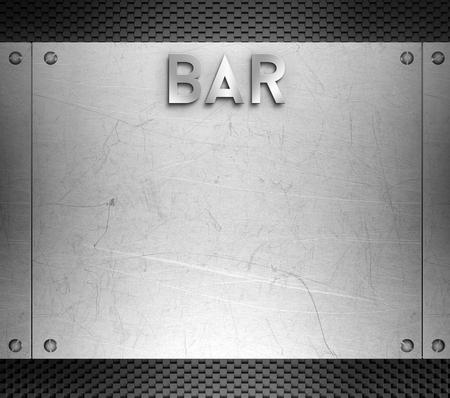 restauration: Bar menu concept on steel plate background