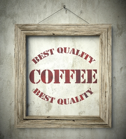 scraping: Best quality coffee emblem in old wooden frame on aged wall Stock Photo