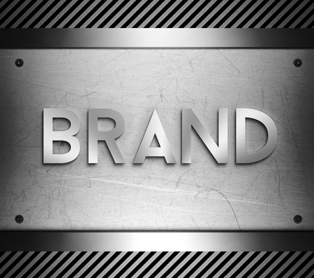 nickel panel: Brand concept on steel plate background