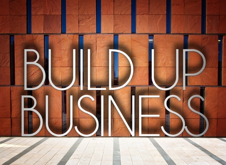 build up: Build up business on modern building creative conceptual illustration Stock Photo