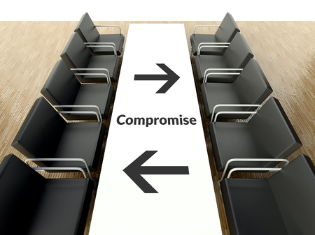 compromise: Business compromise concept, workplace for negotiations