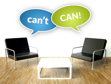 can't: Can and cant concept, office interior with two armchairs Stock Photo