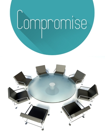 compromise: Compromise conceptual illustration, workplace for negotiations Stock Photo