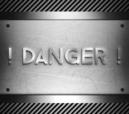 nickel panel: Danger concept on steel plate background