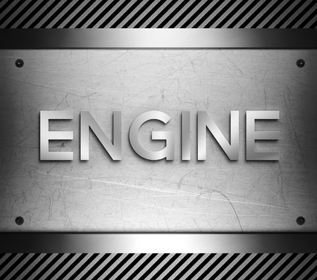 nickel panel: Engine concept on steel plate background