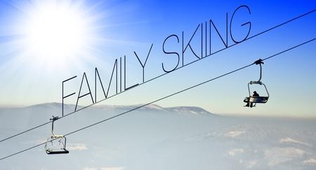 Family skiing on ski lift, creative conceptual illustration illustration