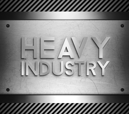 steel industry: Heavy industry concept on steel plate background Stock Photo