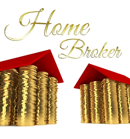 Home broker with houses made ??of coins photo