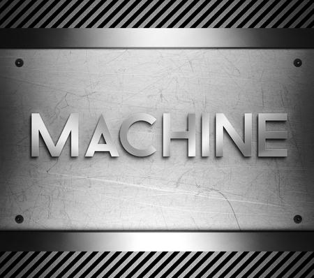 nickel panel: Machine concept on steel plate background Stock Photo