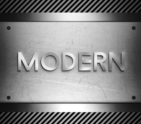 nickel panel: Modern concept on steel plate background Stock Photo