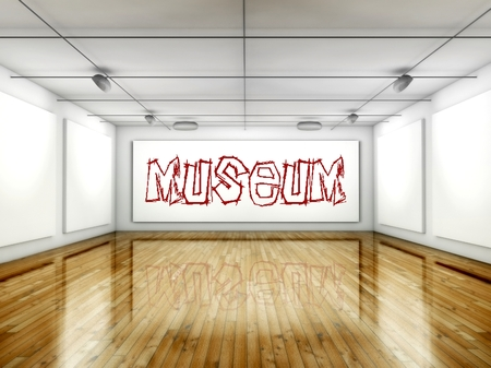 Museum concept, Art gallery interior with wall paintings photo